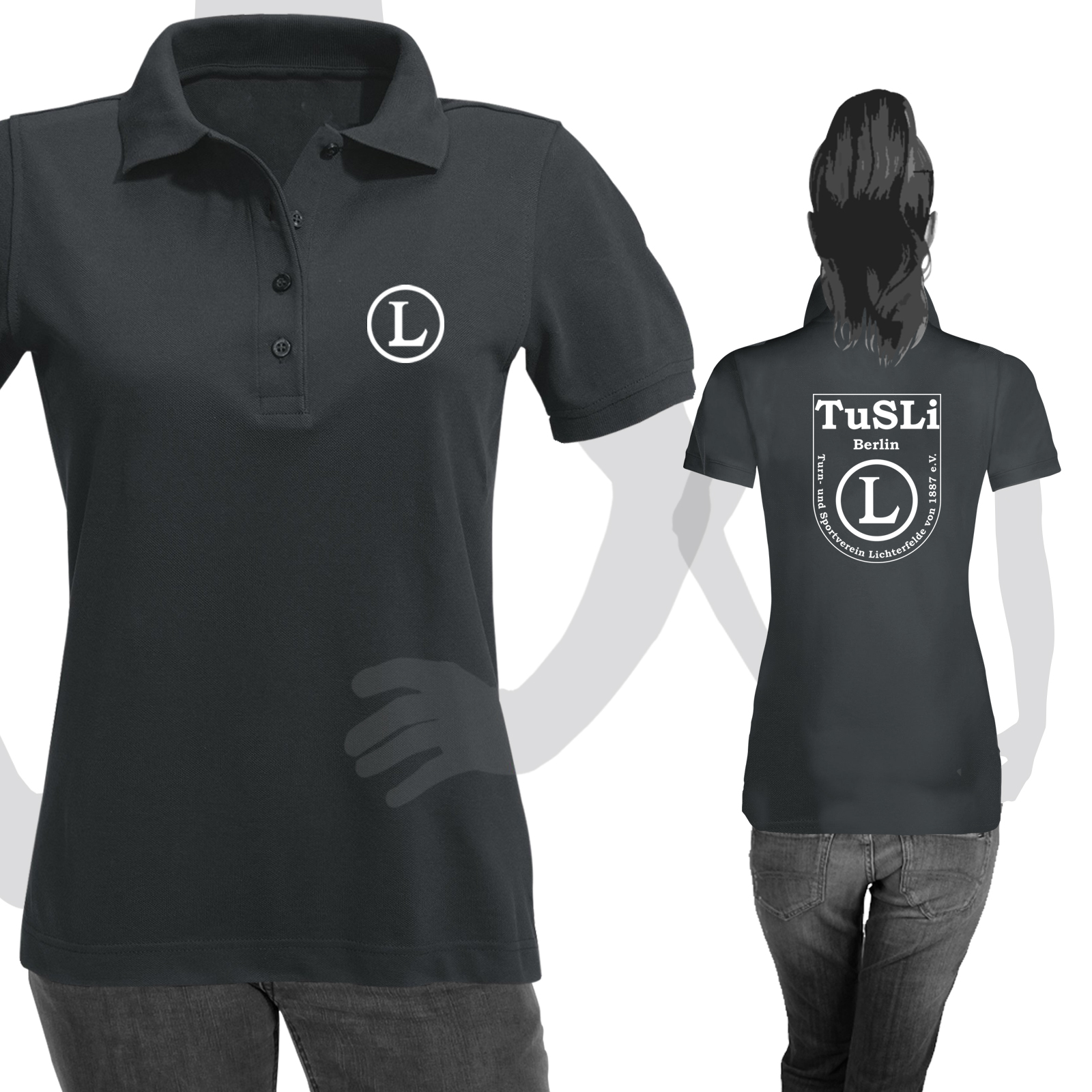 innovative design 6f283 81a54 Ladies Poloshirt Schwarz